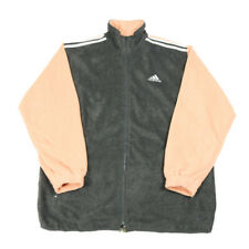 90s Vintage ADIDAS Fleece Jacket | XL | Retro Stripes Zip Coat Festival