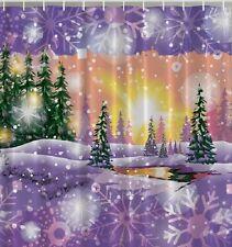 Christmas Trees Snow Snowflakes Fabric SHOWER CURTAIN Wonderland Holiday Bath