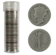 1919 MERCURY DIME 10C AVG CIRC AVERAGE CIRCULATED FULL ROLL 50 COINS