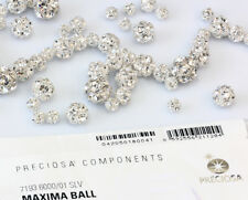 Genuine PRECIOSA Czech Crystal Silver Plated Ball Bead Crystal Color * All Sizes