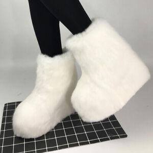 Women's Inner Heightening Wedges with Rabbit Fur Boots High Heel Fur Shoes Shoes