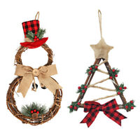 LED Wreath Rattan Ring Door Hanging Christmas Tree Home Ornaments Xmas Decor