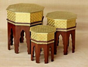 Wooden Nesting Table Set Brass Fitted Indian Traditional Handmade Coffee Ends
