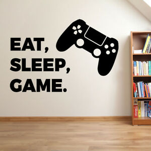PLAYSTATION EAT SLEEP GAME vinyl wall sticker art decal childrens bedroom gaming