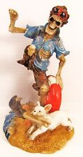 Skeleton Beach Bum w/life ring and Dog took leg figurine
