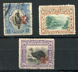 North Borneo 12c Used 16c Mint Hinged 24c Mint No Gum, SG 209, 212 Cat £400