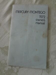 1972 Mercury MONTEGO OWNER'S MANUAL Guide Booklet