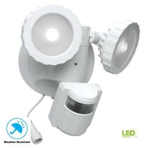 Defiant 180-Degree White Solar Powered Motion Activated Outdoor LED Flood Light