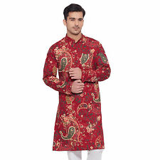 Men Full Sleeve Designer Indian Cotton Long Kurta Casual Wear Printed K 2389