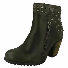 Ladies Harley Davidson Grey Studded Leather Heeled Ankle Boots : Wexford D84116