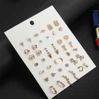 21 Pairs Fashion Womens Cute Heart Earrings Sets Women Ear Stud Jewelry Gift