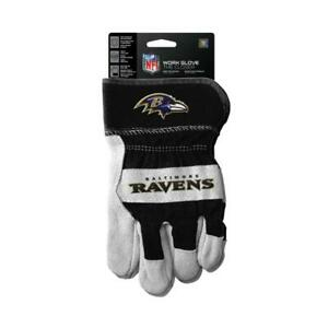 Baltimore Ravens Work Style Leather Gloves [NEW] NFL Adult Warm Cotton Grip