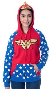 Womans Wonder Woman Tiara Zip Up Costume Hoodie Sweatshirt
