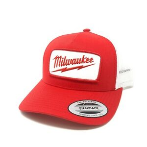 Milwaukee Patch Sewn On Yupoong Trucker Hat Tools - Red & White