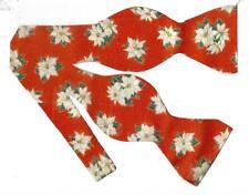 Christmas Bow tie / White Poinsettias on Red / Metallic Gold / Self-tie Bow tie