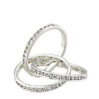 Bague luxe argent rhodié femme mode chic serti zirconium diamant triple anneau