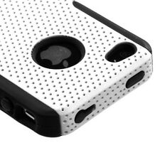 White MESH Hybrid Hard Silicone Rubber Gel Skin Case Cover for Apple iPhone 4 4S