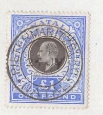 SOUTH AFRICA, NATAL, 1902 K EDV11 £1 SG 142, FISCALLY USED, FORGED POSTMARK