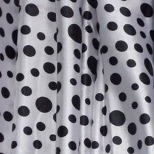 STRETCH SATIN PRINT-MULTISPOT-WHITE/BLACK -DRESS FABRIC-FREE P&P