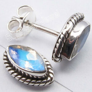 @0.99$ !! 925 Solid Silver BLUE FIRE RAINBOW MOONSTONE Studs Earrings 3/8 inches