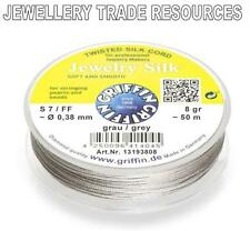 GREY SILK STRING THREAD 0.38mm FOR STRINGING PEARLS & BEADS GRIFFIN SIZE 7/FF