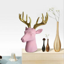 Pink Faux Deer Head - 10inch Stag Animal Scuplture for Farmhouse Wall Decor