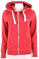 SUPERDRY Womens Hoodie Sweater Size 14 Large Pink Cotton  LI14