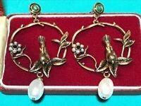 Vintage Style Art Nouveau Ornate Woodland Bird Pearl Drop Earrings