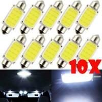 10x 36MM Car C5W Bulbs Cob Chip LED Lights Festoon Dome Interior Lamp Glass Lens