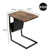 Sofa Side Table Mobile Snack Table Coffee Laptop Table Wooden with Metal Frame
