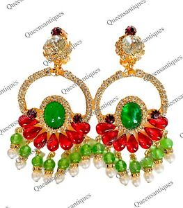"""Chris Crouch's Moans Couture Emerald/Ruby Cabochon Earrings 4.0"""" Marked"""