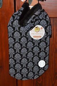 Smushball Pet Cat Dog Damask Hoodie Clothes Winter Coat Size Medium M Black NEW