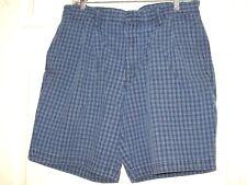 DOCKERS Men's Blue Plaid Casual Shorts 100% Cotton Size 36 EUC