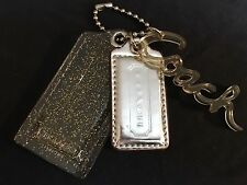 COACH Poppy Fob Clear Plastic Gold Sparkly Glitter&Silver Leather&Clear Word