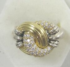Steven Lagos Love Knot Ring Caviar Collection Sterling 18K Gold Diamond Accents