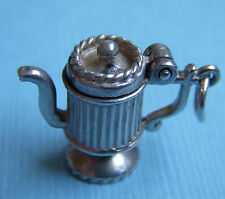 Vintage English movable teapot lid opens sterling charm