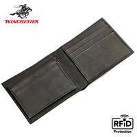 Winchester Bifold Mens Wallet RFID Blocking ID Window Full Grain Genuine Leather