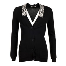 VALENTINO Cardigan Black Virgin Wool Jewelled Collar Size Small WR 181