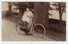 Picture postcard of lady with child and bicycle - PERTH postmark (C31472)