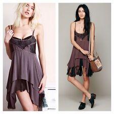 Free People Intimately Pieced Voile Lace Purple Mini Slip Dress S Rare