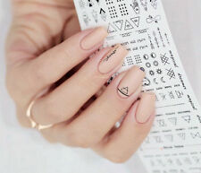 2Sheets Nail Art Water Decals Transfer Sticker Letter Lines Manicure Decor