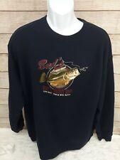 Bud's Bait & Tackle  Bass Sweatshirt Size XL Navy Blue Croft & Barrow Embroidere