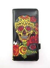 SHAGWEAR WALLET ~ SUGAR SKULL on BLACK SNAP TAB ZIPPERED WALLET ~ NEW
