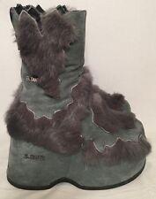 El Dantes Gray Faux Fur High Platform Ankle Boots NWOB Sz 38-39 USA 7.5-9 Furry