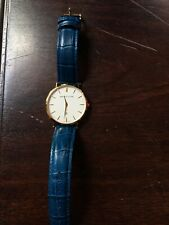 Abbot Lyon Mens Dress Watch Gold Plated Blue Leather Strap (excellent condition)