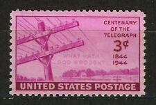 ESTADOS UNIDOS/USA 1944 MNH SC.924 1st.Message transmitted by telegraph