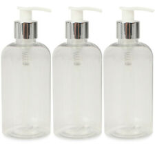 3 x 250ml Clear PET Plastic Lotion Shampoo Hand Soap Gel Pump Dispenser Bottles