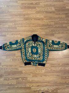 VTG 80s Chanel Chain Bomber Jacket Silk Logo All Over Print Gold size L RARE