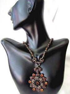 Nolan Miller Necklace Designer Rhinestones Amber/Yellow Sparkle Flower Gorgeous