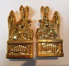 Japan Gold color Shinto Shrine KASAMA Inari Ceramic Pair Fox Figurine 10cm